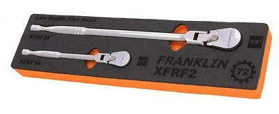 Franklin 2 Piece Low Profile Flex Head Ratchet Set 72T 1/4in, 3/8in Drive