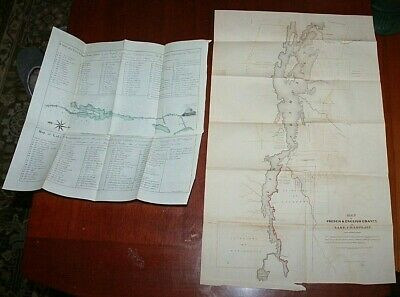 1849 ANTIQUE Maps LAKE CHAMPLAIN French English Grants from earlier maps