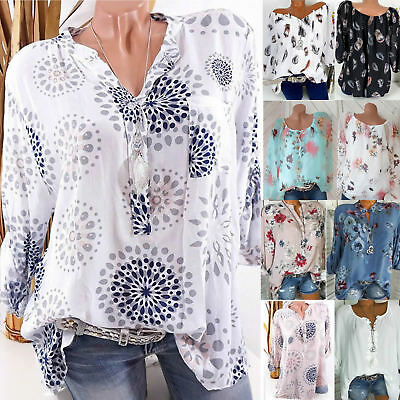 Women Floral T-shirt Blouse Holiday Ladies Baggy Loose Tops Tee Shirt Plus Size