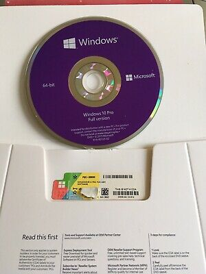 Microsoft Windows 10 Professional 64 Bit | Full License [DVD + COA Key] New !