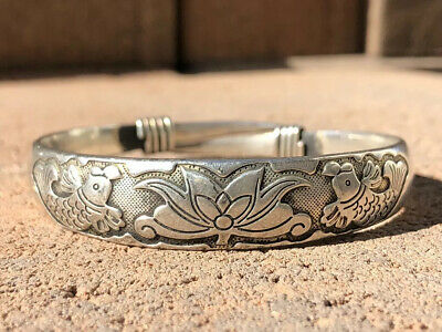 Antique Chinese Export Silver Repousse Koi Fish & Lotus Blossom Bangle Bracelet
