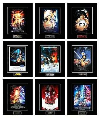 "STAR WARS 8"" x 10"" Episode 1-9 Poster Photos - All 11"" x 14"" Black Matted"