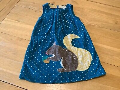 mini boden teal cord pinafore dress with squirrel applique 4-5 yr