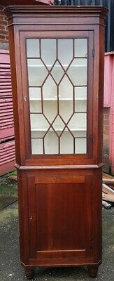 19thc Antique Mahogany Wall Hanging Corner Cabinet or Floor Standing