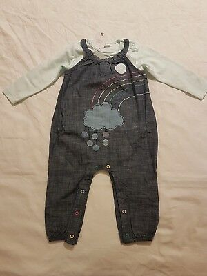 NEW Girl 2 Piece Set Outfit Dungarees+Bodysuit NEXT age 6-9 months