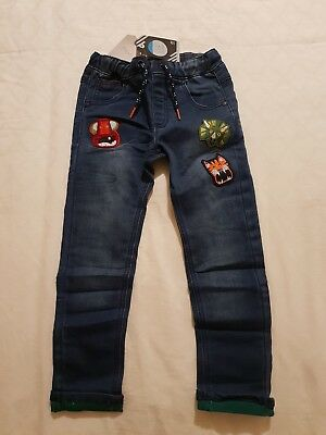 NEW Boys Animals applique Pull-on Blue Denim Jeans NEXT size 2-3 years BNWT
