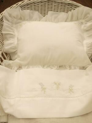 Hand Embroidered White & Blue Cotton Voile Bassinet Sheet & Pillowslip Set