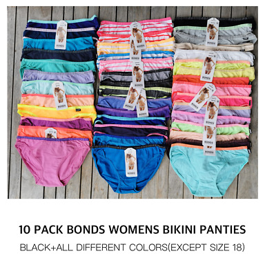BRAND NEW 10 pack Bonds Womens Underwear Cotton Hipster Bikini Briefs Size 8-20
