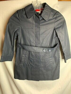 Boutique Cacharel Girls Trench Coat Navy Blue Cotton Size 6 / 7 Made In France