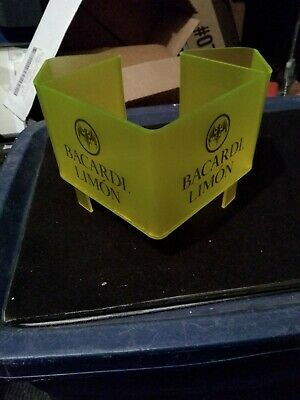 Bacardi Limon Rum Bar Caddy Napkin Straw Swizzle Holder Classic Style Yellow...