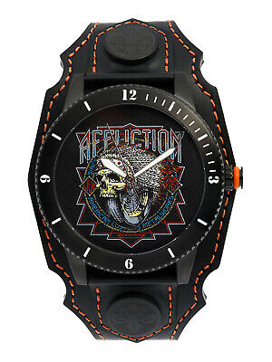 Affliction Metalworks Indian Skull Leather Band Mens Watch Black Orange $225 NEW