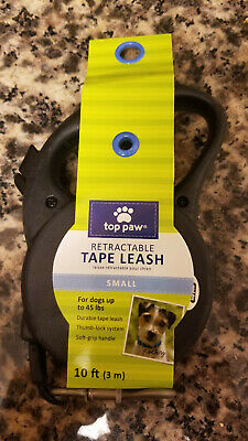 Top Paw Retractable Tape Dog Leash Small 10 Feet Up To 45lbs Black