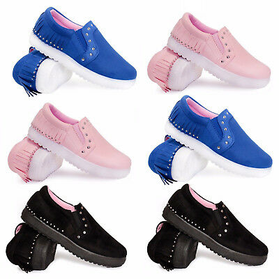 New Kids Tassel Girls Flat Slip On Plimsolls Pumps Canvas Trainers Shoes Size