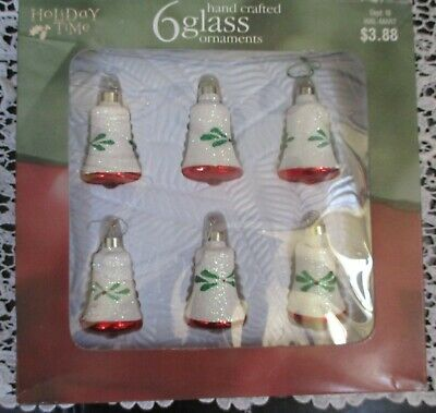 """Holiday Time Glass Christmas Glitter Bell Ornaments  2"""" Vintage Set Of 6"""