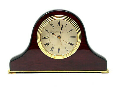 SETH THOMAS 8x5 Dark Mahogany-Finish Wood Tambour Mantel Battery Clock WORKS