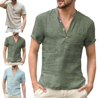Summer Men's Cotton Linen T-Shirt Short Sleeve Basic Tee Slim Fit Casual Tops