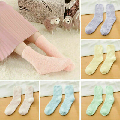 6 Pairs Ladies Girls Winter Fluffy Soft Warm Bed Sock Lounge Slipper Fleece Sock
