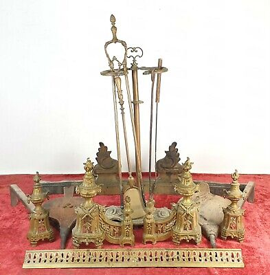 Complete Game For Fireplace. Bronze And Wood. Xix Century.