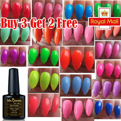 Ms Queen NEON 1-24 VIBRANT SUMMER BRIGHT COLOURS NAIL GEL POLISH UV LED SOAK OFF