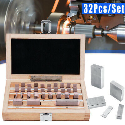 32Pcs/Set Steel Metric Gage Block Grade 1 Slip Jo Blocks 1.005-50mm Measure