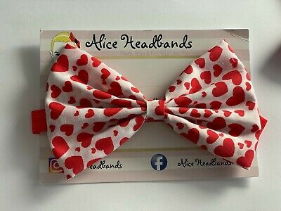 Valentine Bow Baby Girl Headbands 5 Inches Fabric Bow Red Band Heart Love