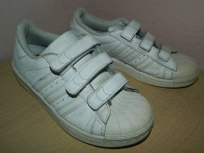 .kids Adidas Superstar white trainers with fasteners uk 2.5 eur 35