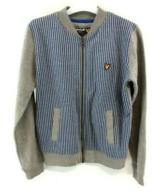 LYLE & SCOTT Boys Tracksuit Top Track Jacket 12-13 Years Grey Blue Cotton & Poly