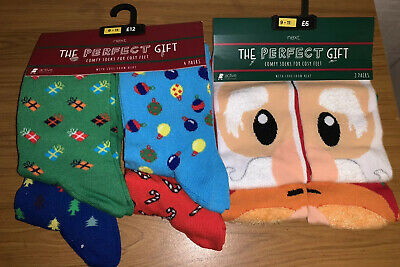 Next Men's Christmas Socks Pack Of 4 & 2 RRP £18 *BNWT* *.Great Stocking Filler*