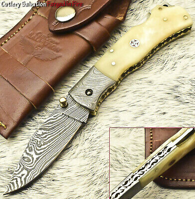 Hand Forged Damascus Pocket Folding Knife Back Lock | Engraved Steel Bolsters!!!