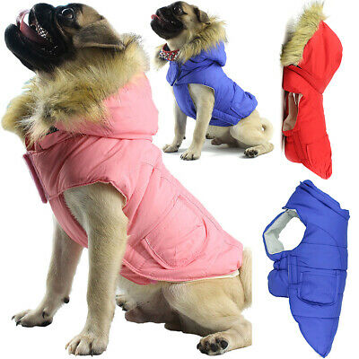 Waterproof Pet Dog Puppy Coat Jacket Hoodie Thick Padded Winter Clothes Apparel