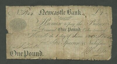 ENGLAND Newcastle Under Lyme Bank  £1 1825  English Provincial Banknotes