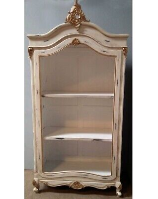Mahogany French Louis XV1 Chateau Style Antique White Armoire Style Bookcase