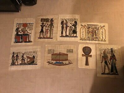 Joblot Of 8 Old Papyrus Egyptian Paintings