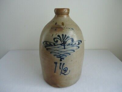 Antique W.A. LEWIS GALESVILLE, NEW YORK Decorated Blue 1 1/2 Stoneware Jug