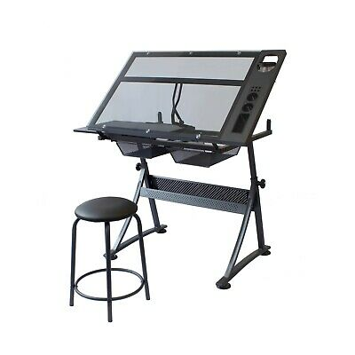 Stationery Island FOULA-TP Drafting Table for Arts & Crafts – Tilting Glass Desk