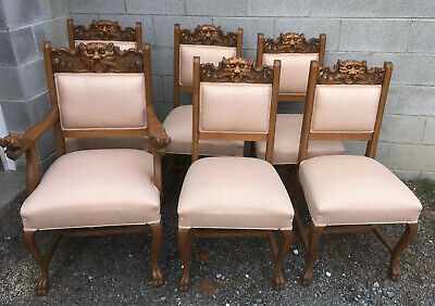 Victorian Carved Set Of 6 Oak Dining Chairs