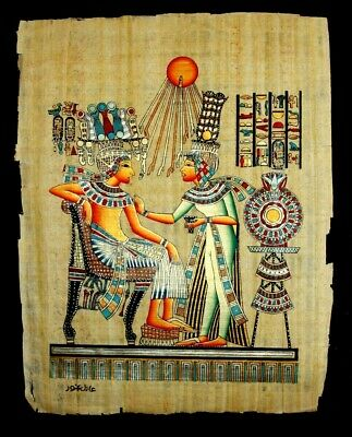 Rare Authentic Hand Painted Ancient Egyptian Papyrus- king tutankhamoun and wife
