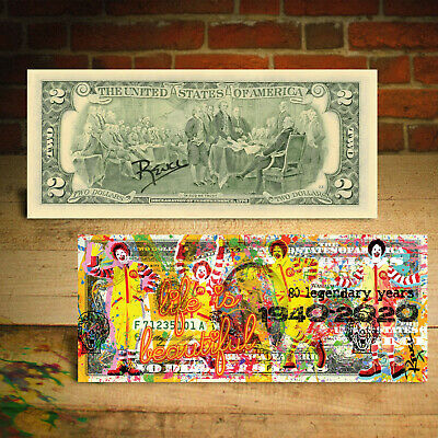 McDonald's 80th Anniversary 1940-2020 Genuine $2 Bill Pop Art - SIGNED by Rency