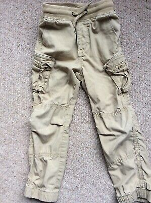 Baby Gap boys cargo trousers 4 years beige with elasticated waist and ankles