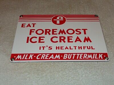 "Vintage ""Foremost Ice Cream & Milk"" 10"" Porcelain Metal Dairy Cream Gas Oil Sign"