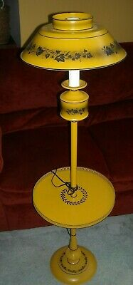 "54"" Vintage Toleware Floor Lamp W/ Tray Folk Art. Mustard Yellow"