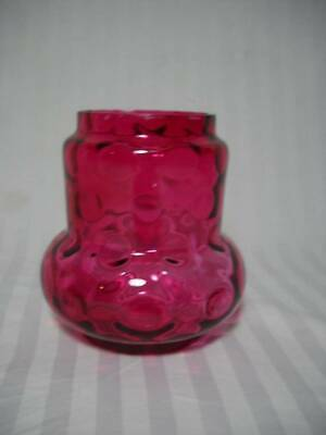 "Vintage Cranberry Thumbprint Pickle Castor Jar/Liner 4 1/2"" Tall"