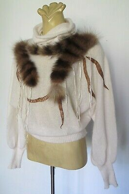JUMPER Wool, Leather Fur trims Off white 80s VINTAGE Italy Batwing Dolman Retro