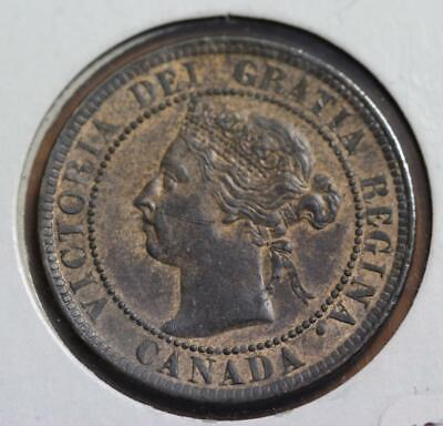 Canada 1899 Queen Victoria One Cent KM# 7 Uncirculated With Red Traces