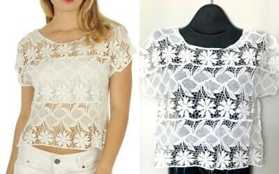 Ivory Sheer Crochet Lace Oversize Crop Top Boho Sexy Medium New