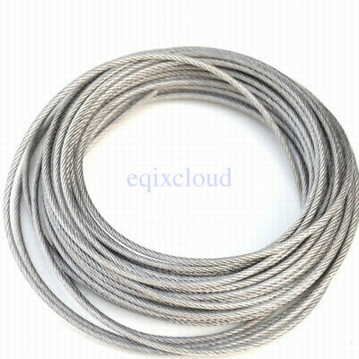 1-100Meter Stainless Steel Cable Rigging Wire Rope Flexible 1mm 2mm 3mm 4mm