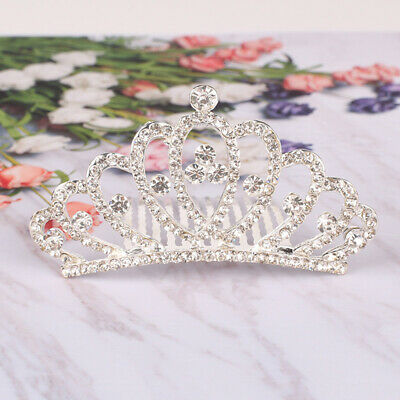 1Pc Baby Girl Kids Alloy Rhinestone Princess Crown Hair Comb Headband