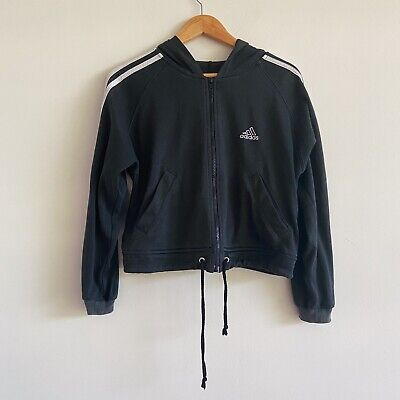 vintage 90s black adidas cropped crop hoodie jacket sweater sweatshirt full zip
