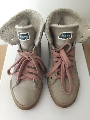 Geox Girls Lace Up Leather Bootie Faux Sheep Lining Size 35/UK2 G. Condition