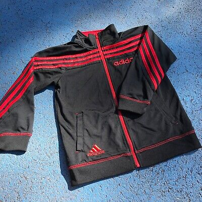 Vintage Adidas Black Red 90s Y2K Tracksuit Jacket 5-7 Yrs Sports Casual